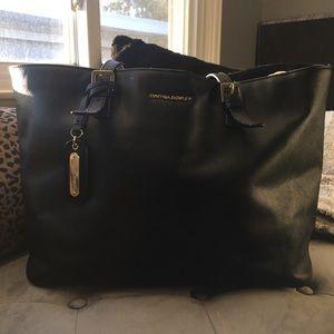 Cynthia Rowley black leather tote, EUC